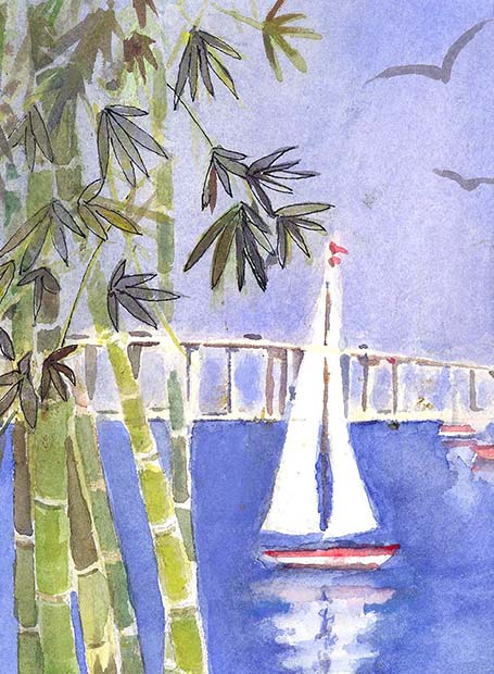 Watercolor painting of a sail boat and banboo trees .