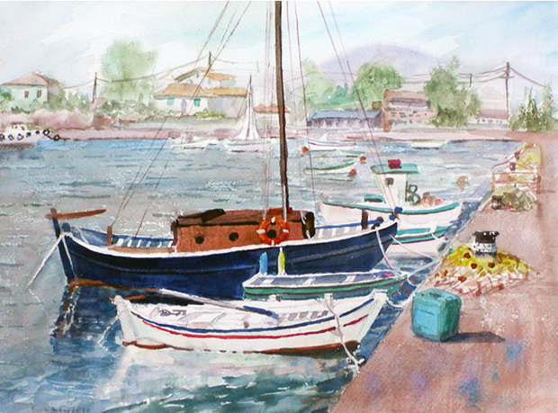 Painting of a fishing village