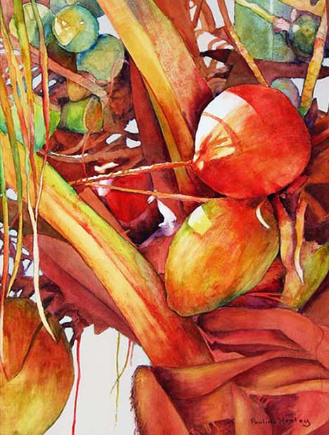 Painting of a red coconut