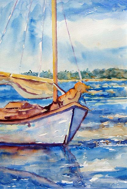 Watercolor painting of a sail boat.