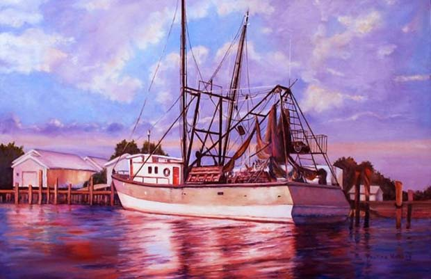 Oil painting of shrimp boat